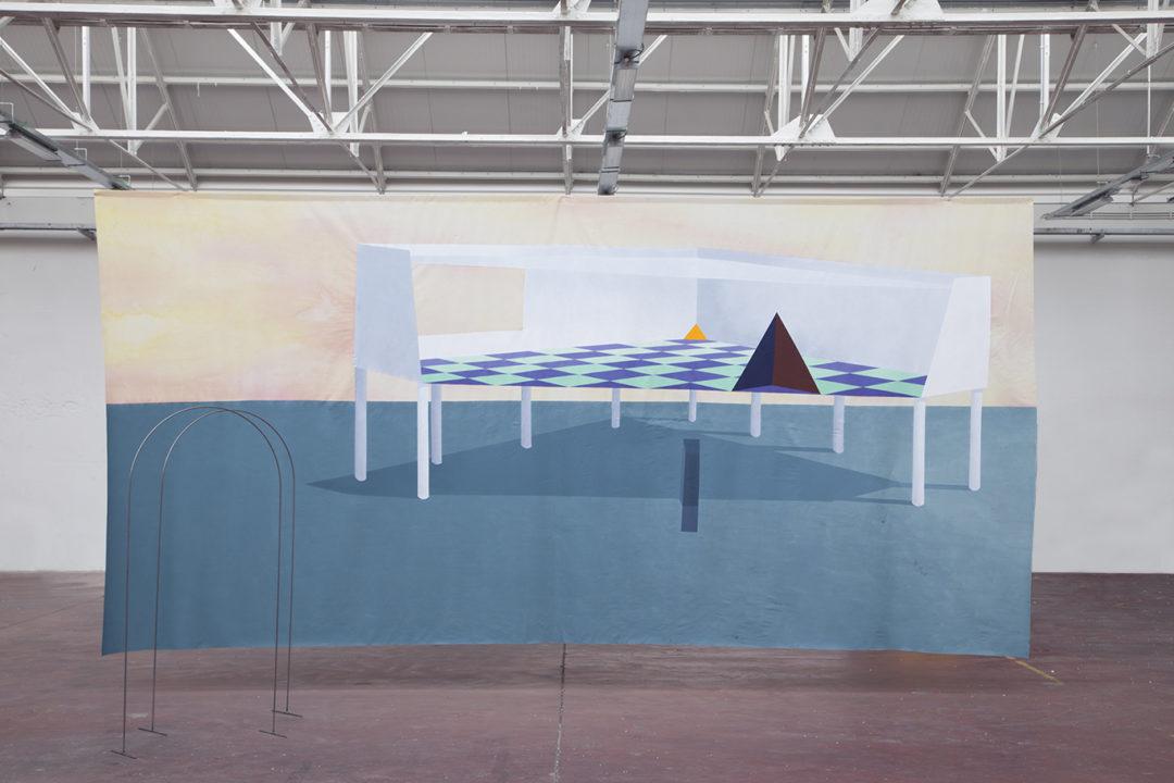 acrylique et aquarelle sur toile, 600 x 300 cm